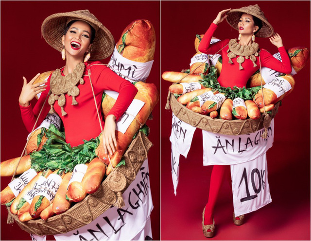 Cận cảnh HHen Niê diện trang phục bánh mì tới Miss Universe - Ảnh 1.