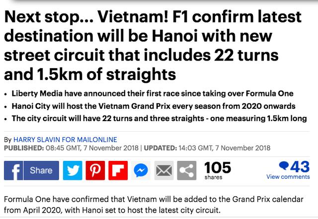 Báo nước ngoài loan tin về giải đua F1 ở Hà Nội - Ảnh 2.