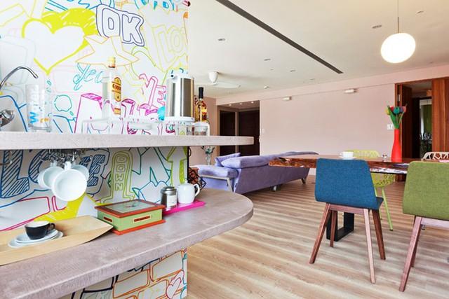 Căn hộ màu sắc được trang trí bằng giấy dán tường - Ảnh 8.