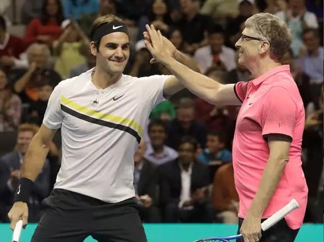Roger Federer - Bill Gates đánh đôi gây quỹ từ thiện - Ảnh 5.
