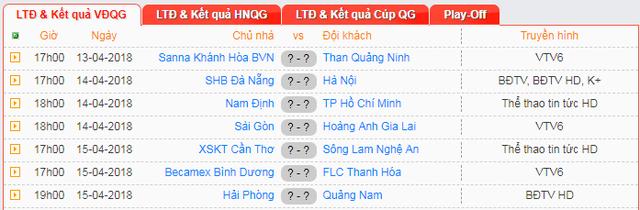 Lịch thi đấu và trực tiếp vòng 5 V.League 2018 - Ảnh 2.