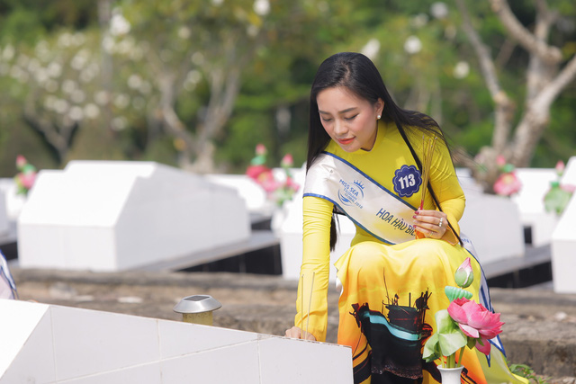Thí sinh Hoa hậu Biển Việt Nam toàn cầu 2018 tri ân các anh hùng liệt sĩ tại Phú Quốc - Ảnh 6.