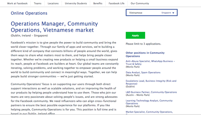Community Operations Specialist Facebook