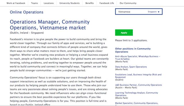 Facebook tuyển nhân sự cho thị trường Việt Nam | VTV VN