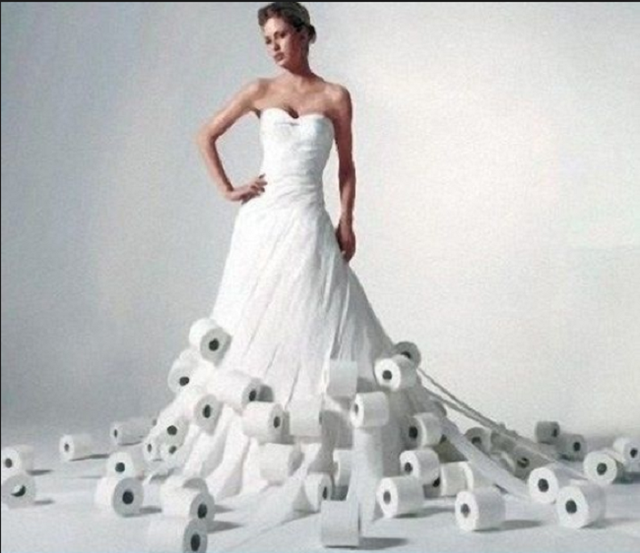 Váy cưới tuyệt đẹp từ... giấy vệ sinh - Ảnh 3.