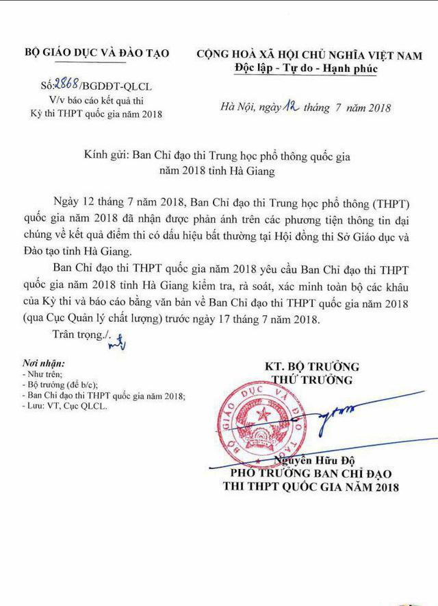 Điểm thi THPT Quốc gia tại Hà Giang bất thường: Bộ GD&ĐT yêu cầu xác minh toàn bộ - Ảnh 1.