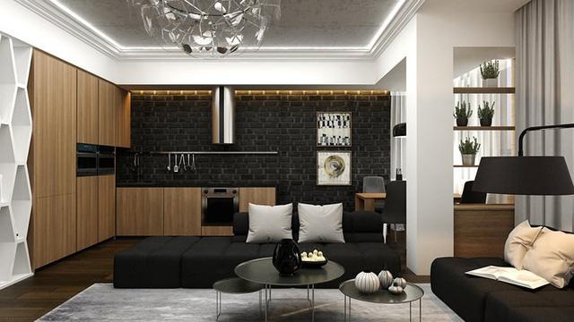 Căn hộ phong cách với màu đen, trắng và nâu gỗ - Ảnh 2.
