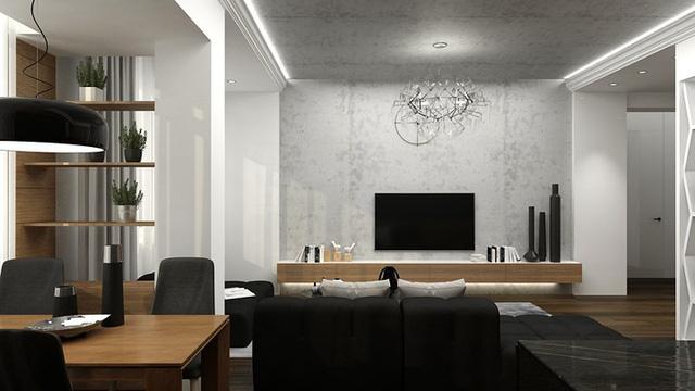 Căn hộ phong cách với màu đen, trắng và nâu gỗ - Ảnh 4.