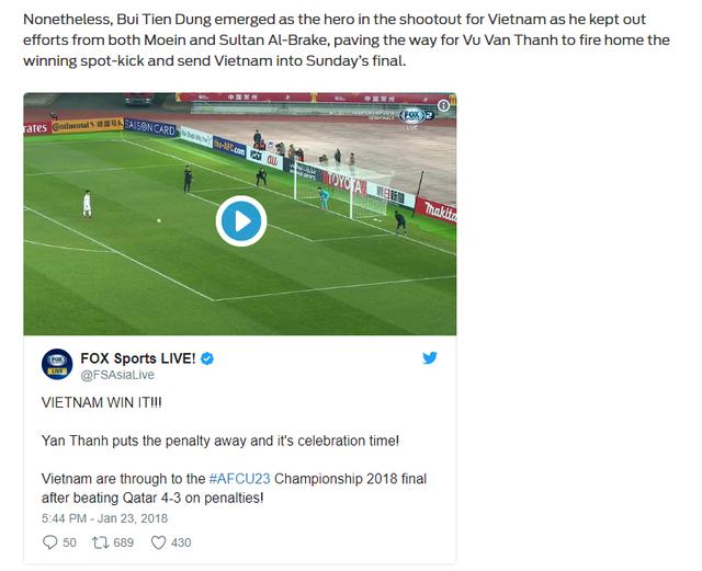 Báo chí quốc tế sục sôi vì thắng lợi lịch sử của ĐT U23 Việt Nam - Ảnh 1.
