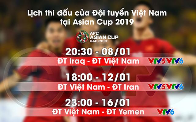 Lịch thi đấu và tường thuật trực tiếp của ĐT Việt Nam tại Asian Cup 2019 - Ảnh 1.