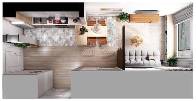 Căn hộ có nội thất làm bằng gỗ tự nhiên - Ảnh 8.