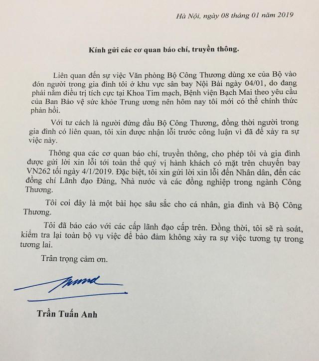 Bộ trưởng Trần Tuấn Anh gửi thư xin lỗi về vụ xe biển xanh đón người nhà ở sân bay Nội Bài - Ảnh 1.