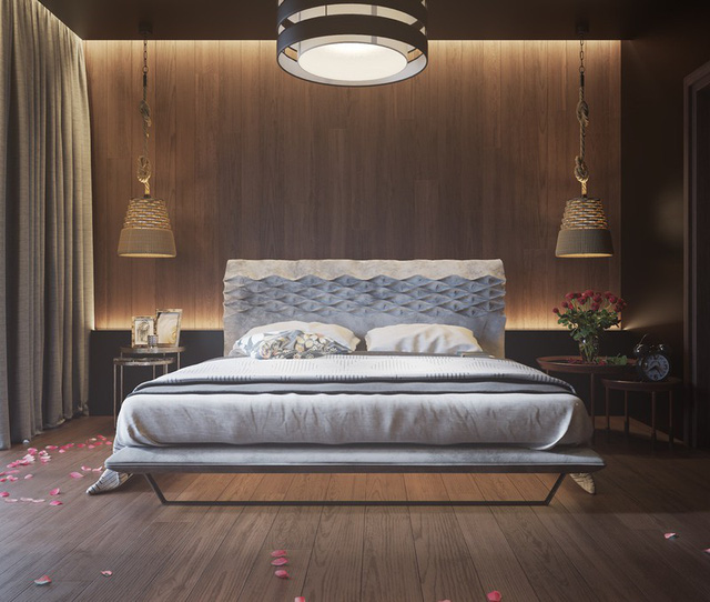Trang trí phòng ngủ bằng tường gỗ ấn tượng - Ảnh 1.