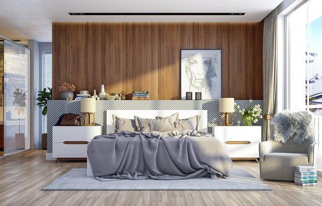 Trang trí phòng ngủ bằng tường gỗ ấn tượng - Ảnh 2.