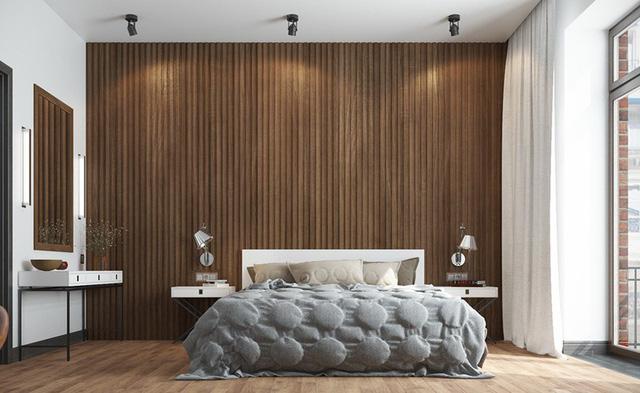 Trang trí phòng ngủ bằng tường gỗ ấn tượng - Ảnh 3.