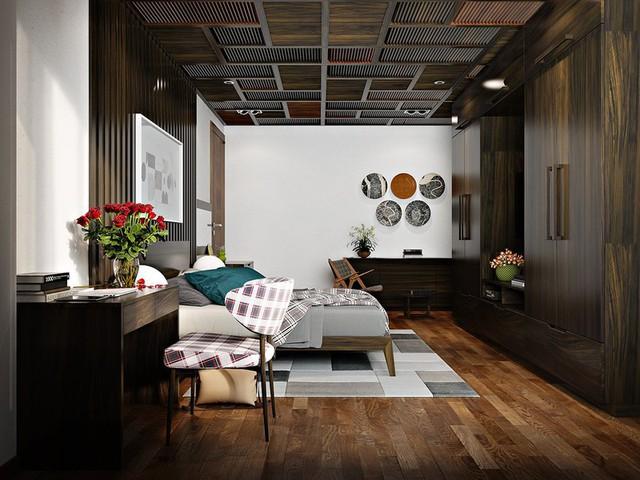Trang trí phòng ngủ bằng tường gỗ ấn tượng - Ảnh 4.