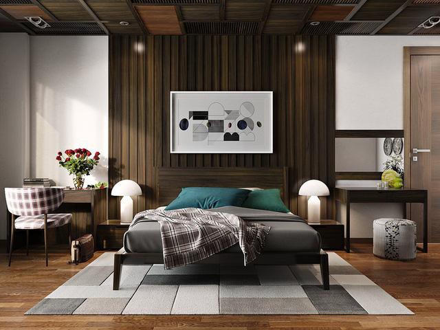 Trang trí phòng ngủ bằng tường gỗ ấn tượng - Ảnh 5.