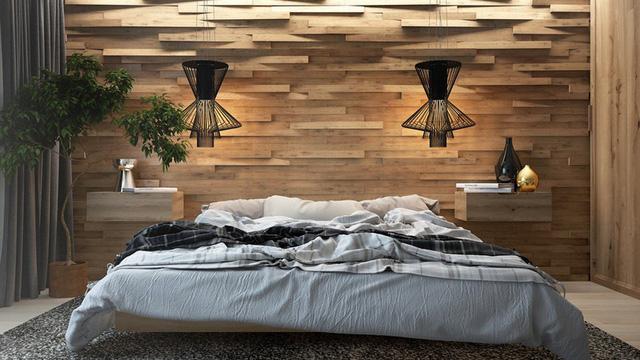 Trang trí phòng ngủ bằng tường gỗ ấn tượng - Ảnh 6.