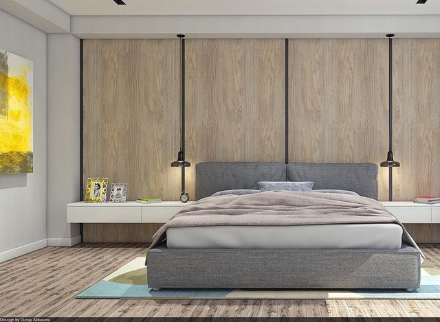 Trang trí phòng ngủ bằng tường gỗ ấn tượng - Ảnh 8.