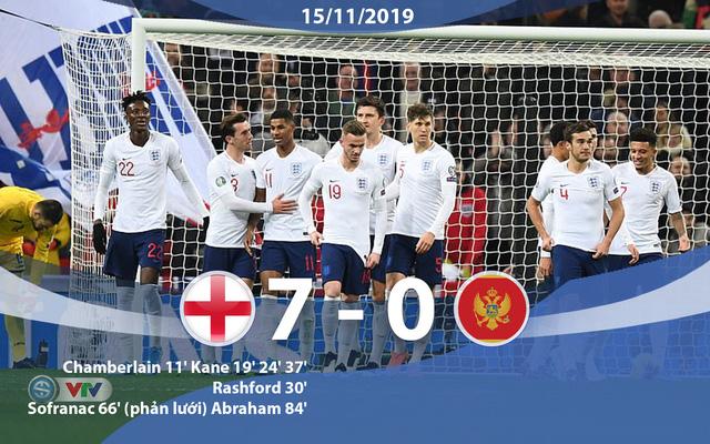 Kết quả, BXH vòng loại EURO 2020, ngày 15/11: ĐT Anh 7-0 ĐT Montenegro, ĐT Bồ Đào Nha 6-0 ĐT Litva - Ảnh 1.