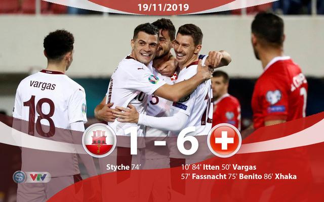 Kết quả, BXH vòng loại EURO 2020, ngày 19/11: ĐT Italia 9-1 ĐT Armenia, ĐT Tây Ban Nha 5-0 ĐT Romania, ĐT Gibraltar 1-6 ĐT Thụy Sĩ - Ảnh 1.