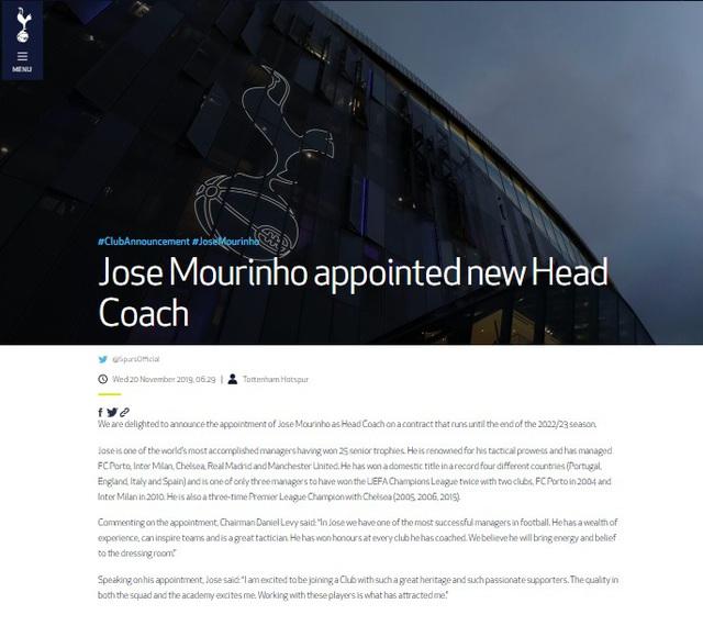 Chính thức: Mourinho ký hợp đồng dẫn dắt Tottenham - Ảnh 1.