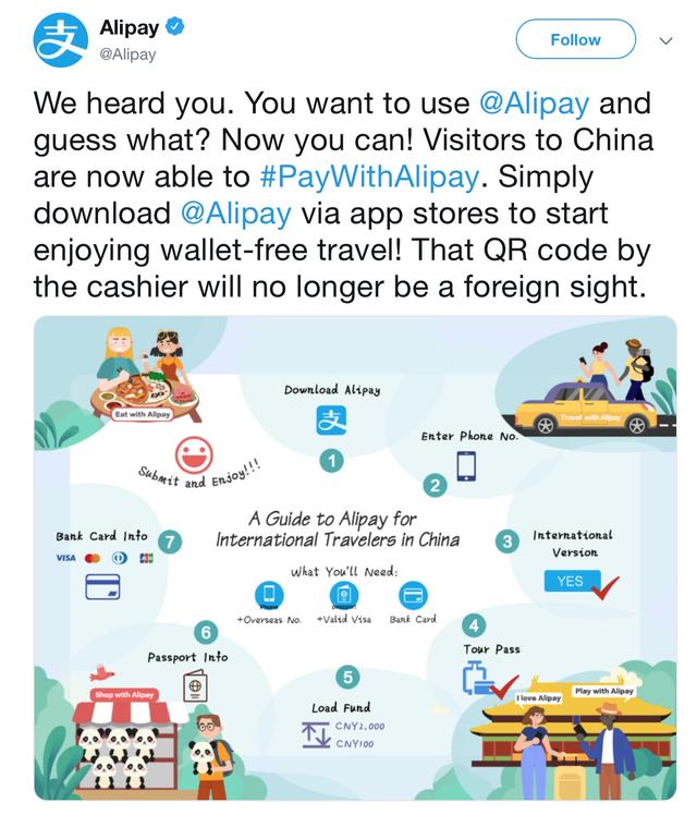 Du khách nước ngoài tới Trung Quốc đã có thể sử dụng ví điện tử Alipay để thanh toán - Ảnh 1.