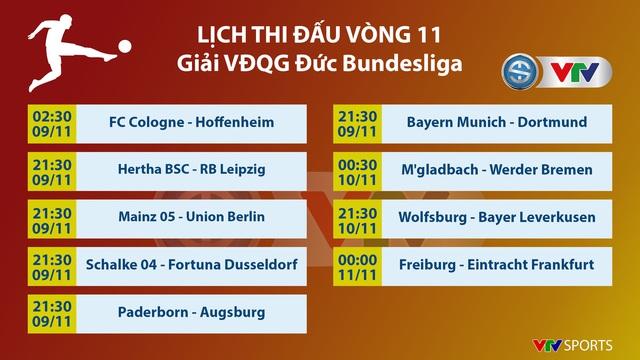 Lịch thi đấu, BXH Vòng 11 Bundesliga: Trận cầu tâm điểm Bayern Munich - Dortmund - Ảnh 1.