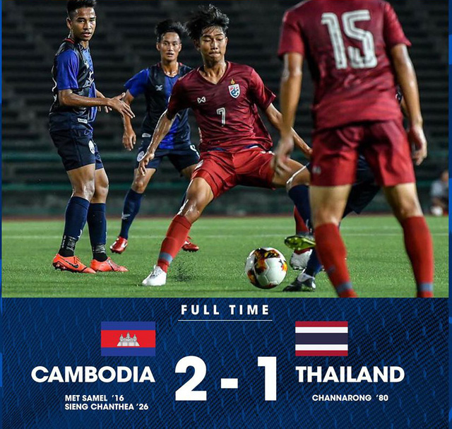 U19 Thái Lan 1-2 U19 Campuchia: Thất bại bất ngờ! - Ảnh 1.