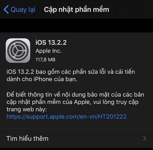 Apple ra mắt bản cập nhật iOS 13.2.2 cho iPhone - Ảnh 1.