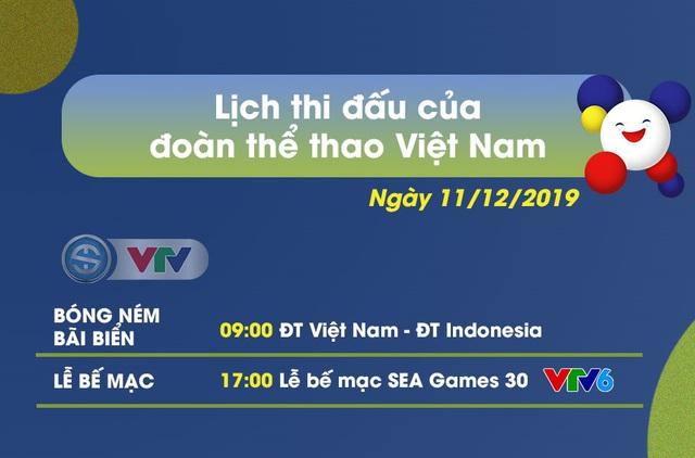 Lịch thi đấu và bế mạc SEA Games 30 ngày 11/12 - Ảnh 1.