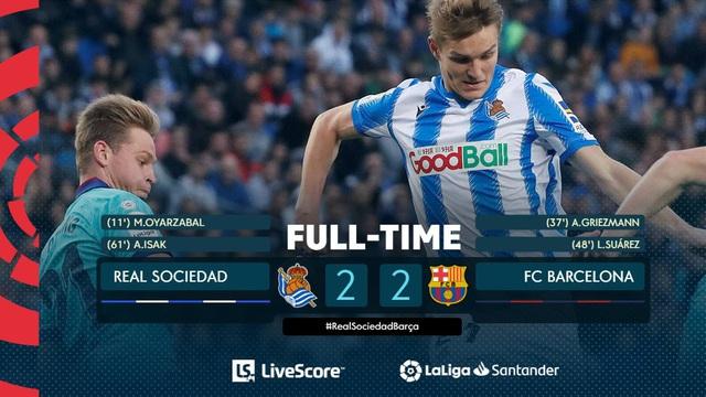 Kết quả, bảng xếp hạng vòng 17 VĐQG Tây Ban Nha La Liga: Real Sociedad 2-2 Barcelona, Atletico Madrid 2-0 Osasuna - Ảnh 3.