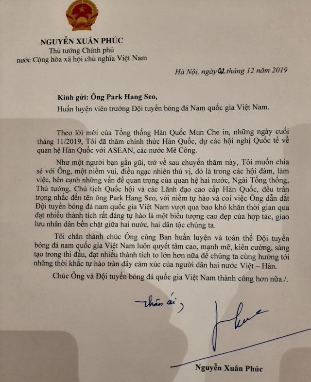 Thủ tướng gửi thư động viên HLV Park Hang-seo và chúc đoàn thể thao Việt Nam thành công - Ảnh 1.