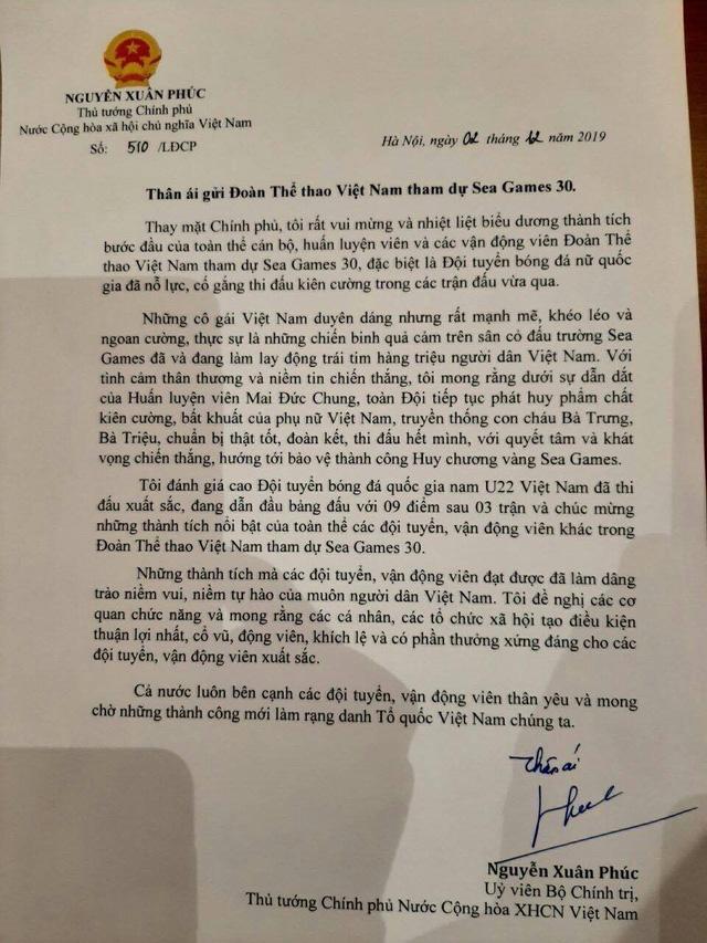 Thủ tướng gửi thư động viên HLV Park Hang-seo và chúc đoàn thể thao Việt Nam thành công - Ảnh 2.