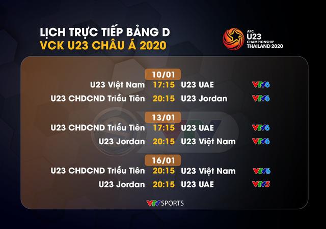 Lịch thi đấu và trực tiếp của U23 Việt Nam tại bảng D VCK U23 châu Á 2020 - Ảnh 1.