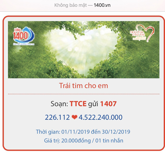 Trái tim cho em nhận được hơn 4,5 tỷ đồng từ tin nhắn tới CTTĐT nhân đạo quốc gia 1400 - Ảnh 1.