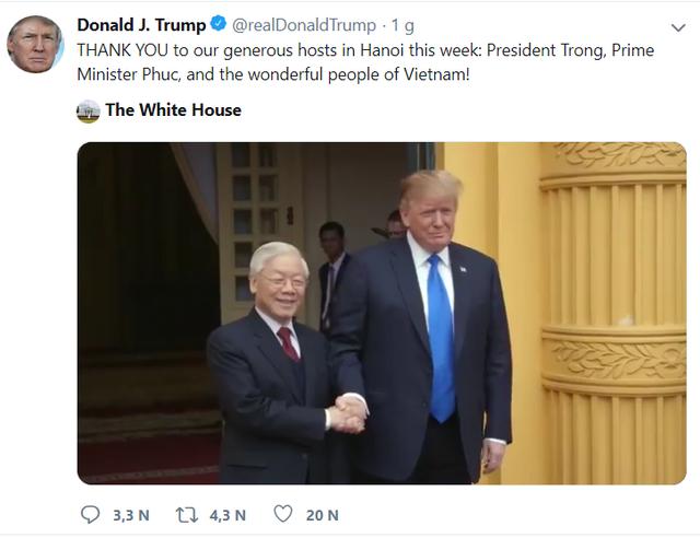 Tổng thống Donald Trump lại đăng Twitter cảm ơn Việt Nam - Ảnh 1.