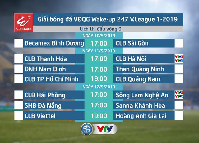 Lịch thi đấu và trực tiếp vòng 9 Wake-up 247 V.League 1-2019: Tâm điểm CLB Thanh Hóa - CLB Hà Nội, CLB Hải Phòng - Sông Lam Nghệ An - Ảnh 1.