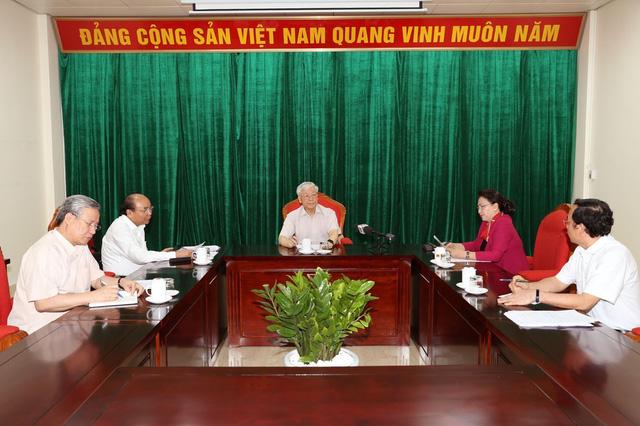 Đồng chí Tổng Bí thư, Chủ tịch nước Nguyễn Phú Trọng chủ trì họp lãnh đạo chủ chốt - Ảnh 1.