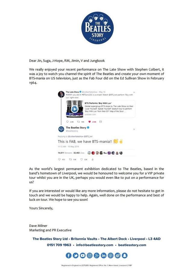 Bảo tàng The Beatles muốn mời BTS về biểu diễn - Ảnh 1.