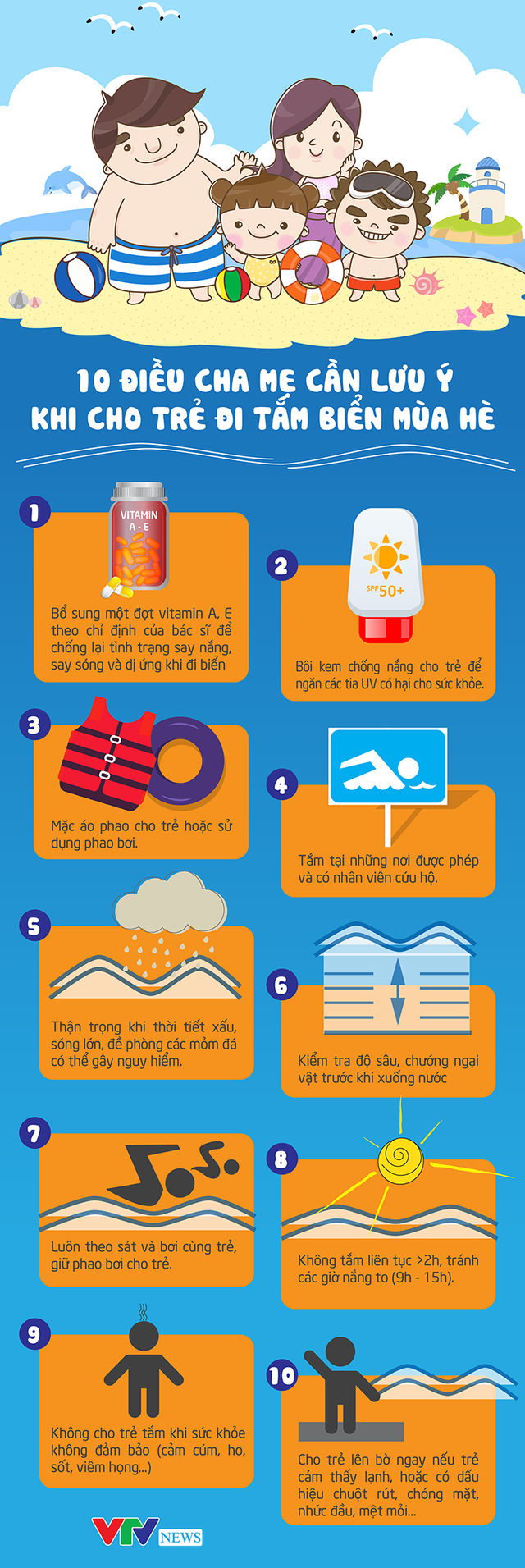 [INFOGRAPHIC] 10 điều cha mẹ cần lưu ý khi cho trẻ đi tắm biển mùa hè - Ảnh 1.