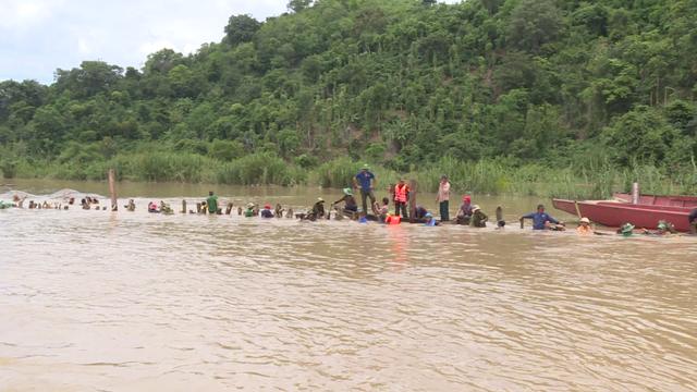 Hàng trăm người dầm mình dưới nước đắp đê bị vỡ để cứu lúa - Ảnh 1.