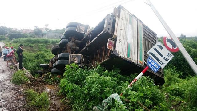 Bình Phước: Xe tải lao xuống vực, tài xế thoát chết trong gang tấc - ảnh 1