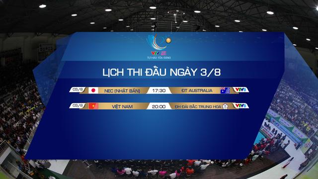 Lịch thi đấu và trực tiếp VTV Cup Tôn Hoa Sen 2019 ngày khai mạc, 3/8: ĐT Việt Nam – ĐH Đài Bắc Trung Hoa, NEC (Nhật Bản) - ĐT Australia - Ảnh 1.