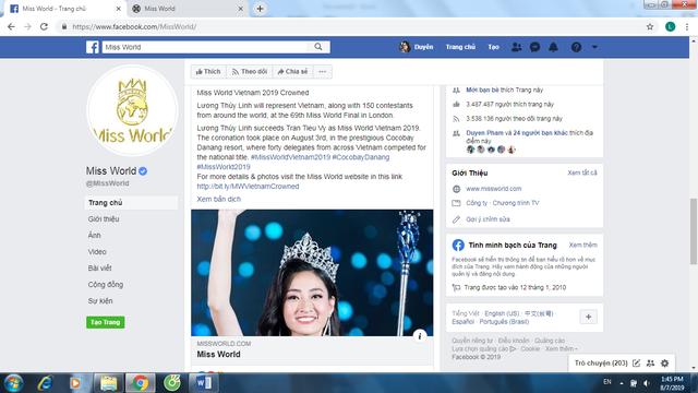 Trang chủ Miss World khen ngợi tân Hoa hậu Lương Thùy Linh của Việt Nam - Ảnh 3.