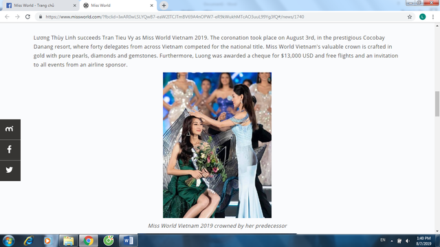 Trang chủ Miss World khen ngợi tân Hoa hậu Lương Thùy Linh của Việt Nam - Ảnh 2.