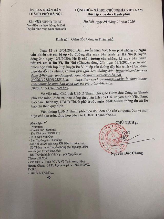 Chủ tịch UBND thành phố Hà Nội chỉ đạo điều tra vụ mua bán trinh tại huyện Ba Vì - Ảnh 1.