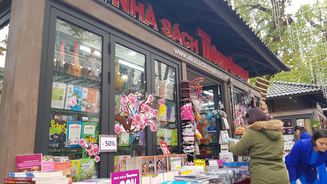 A pavilion of the Tien Phong Bookstore on the spring book street