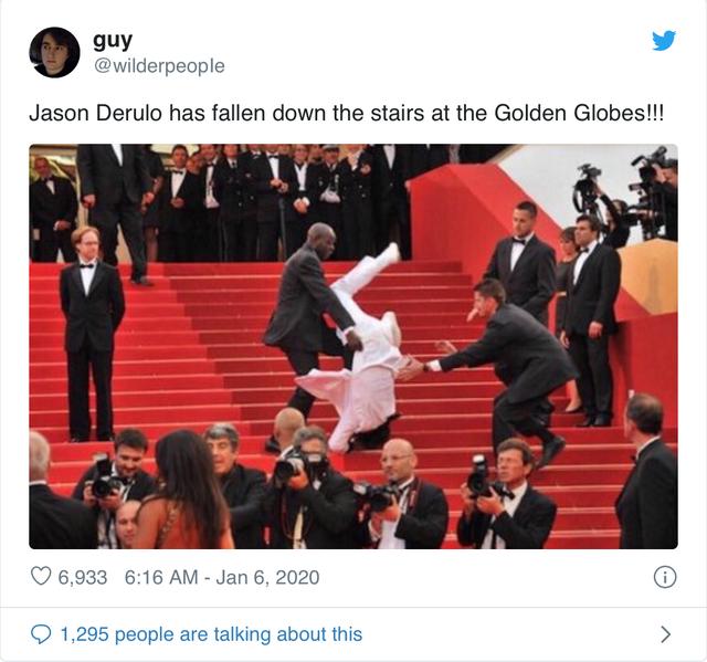 Quả cầu vàng 2020: Jason Derulo đen đủi, vấp ngã trên thảm đỏ - Ảnh 1.