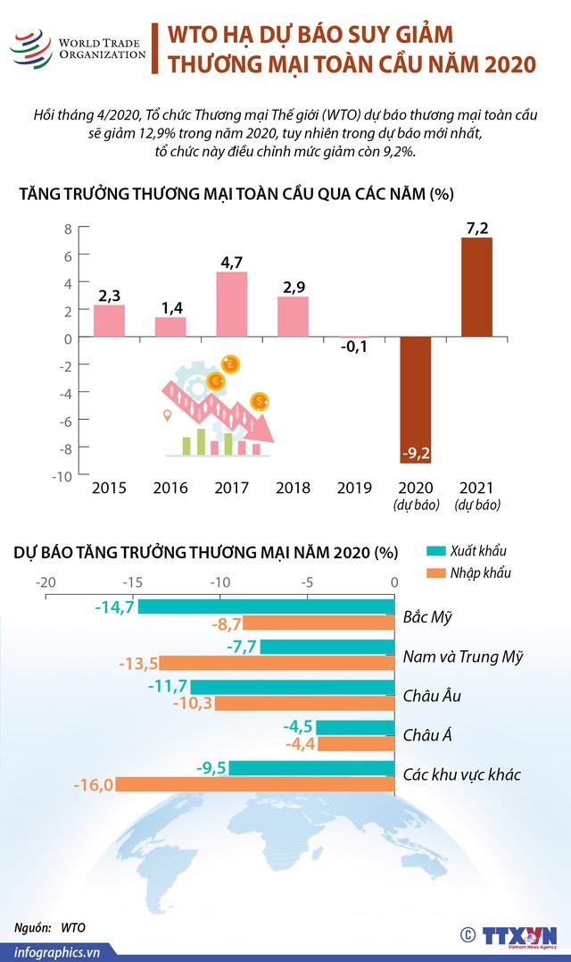 [INFOGRAPHIC] WTO hạ dự báo suy giảm thương mại toàn cầu năm 2020 - Ảnh 1.